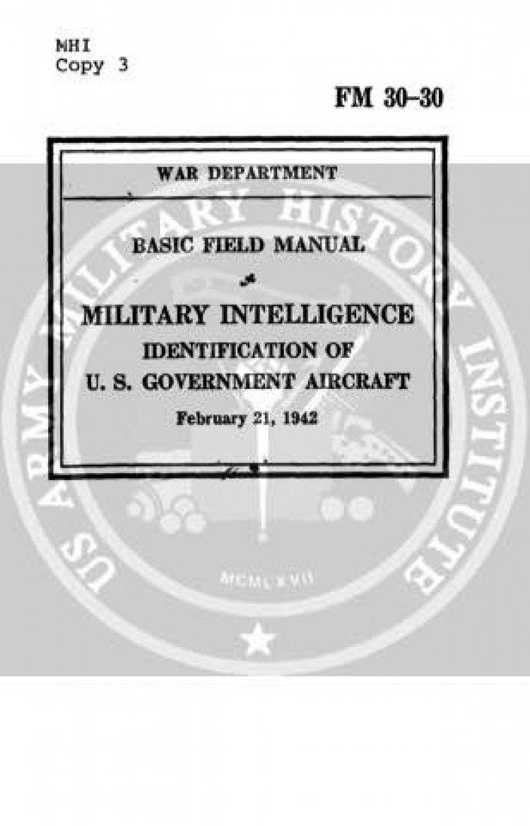 FM30-30 US Aircraft ID 1942 model airplane plan