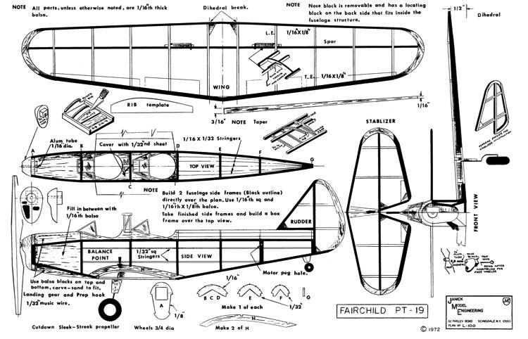 Fairchild PT-19-Janick model airplane plan