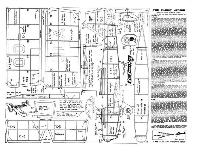FaireyJunior inc pwood model airplane plan