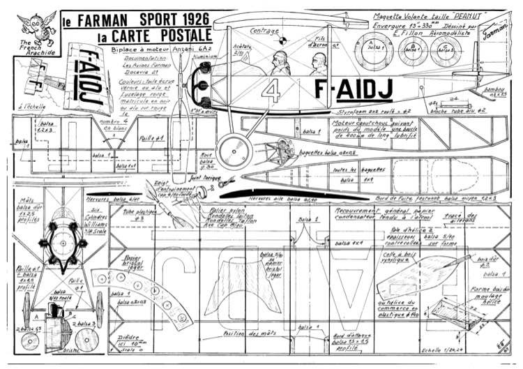 Farman Carte model airplane plan