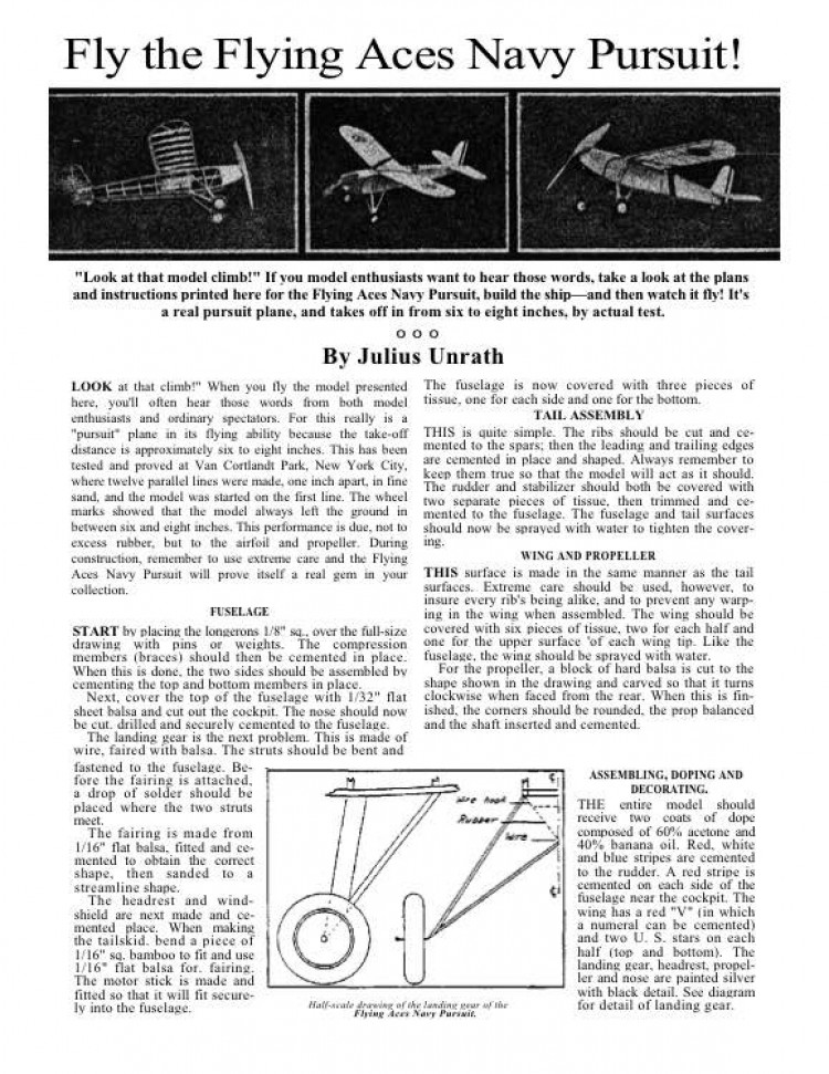 Flying Aces Navy Pursuit model airplane plan