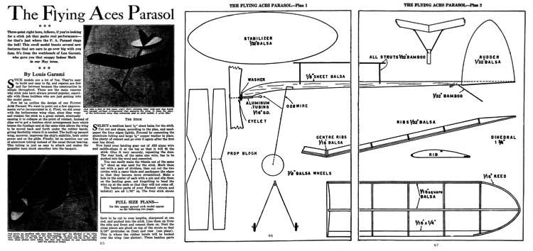 Flying Aces Parasol model airplane plan