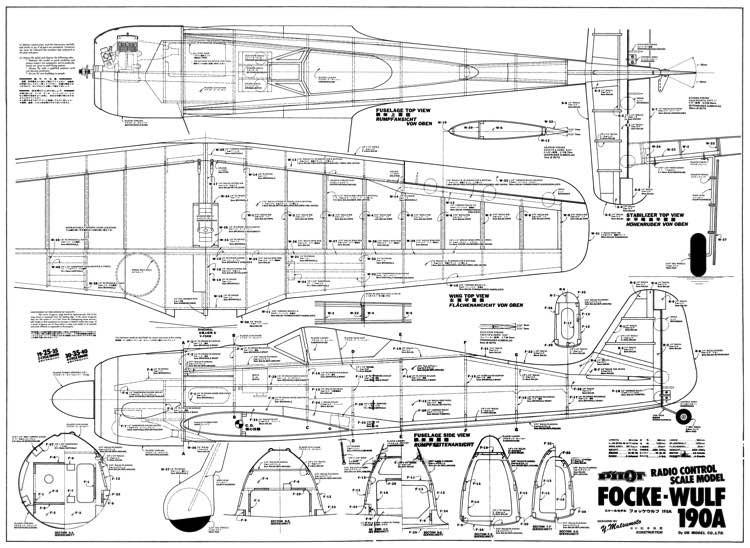 Focke Wulf 190A 48in model airplane plan