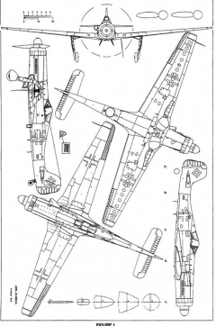 Focke Wulf Ta152h views model airplane plan