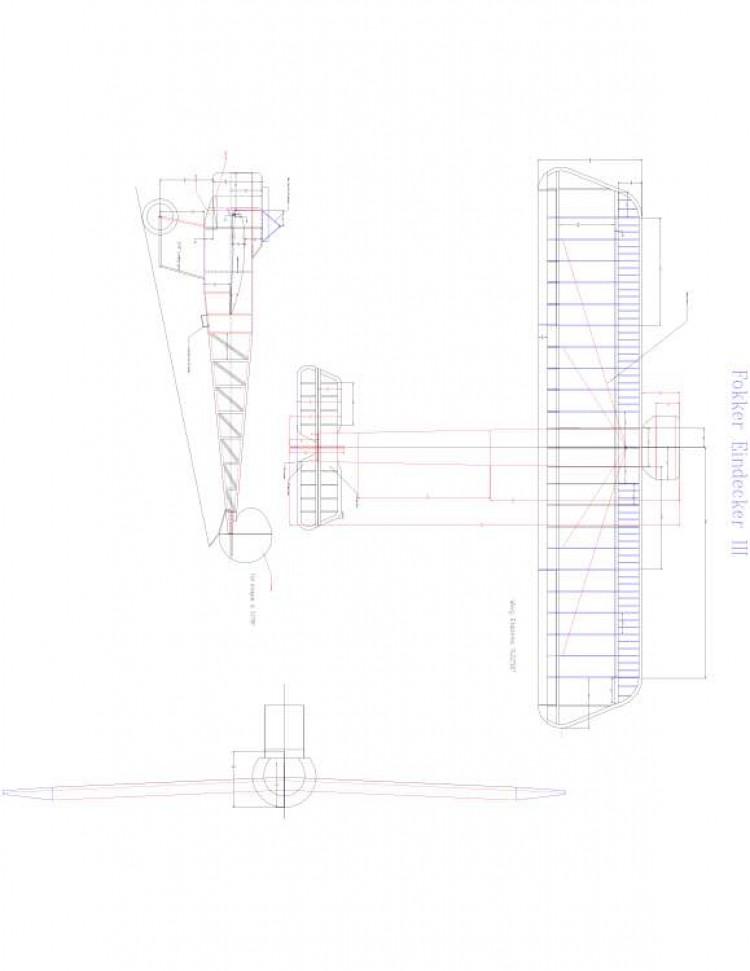 Focker Eindecker 3 Model 1 model airplane plan