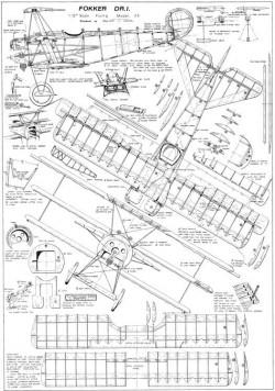 Fokker-DR.1 model airplane plan