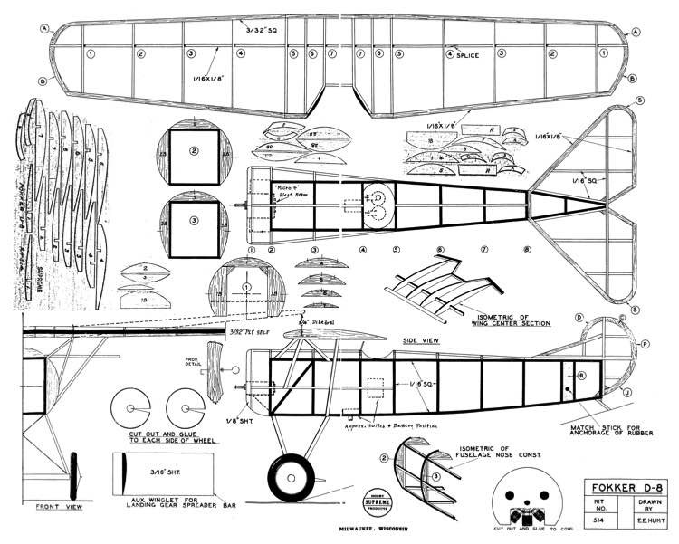 Fokker D-8 Hunt 17in model airplane plan