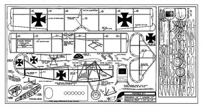 Fokker D-VII 12in Comet-A7 model airplane plan