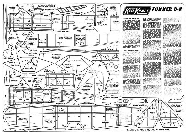 Fokker D8 KK 16in model airplane plan