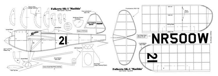 Folkerts SK-1 Matilda-FAC model airplane plan