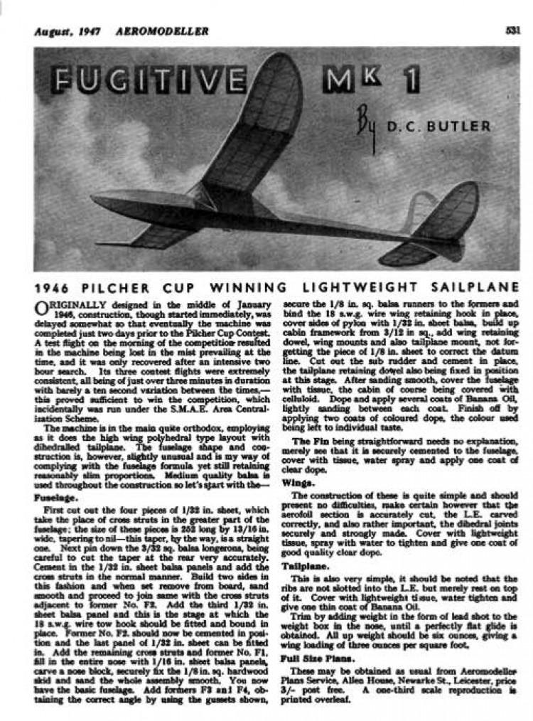 Fugitive model airplane plan