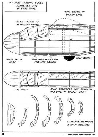 Schweitzer TG-2 model airplane plan