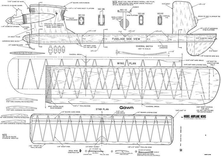 Gawn F.F. model airplane plan