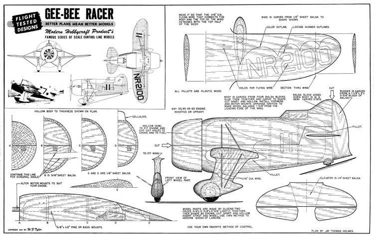 Gee Bee Racer model airplane plan