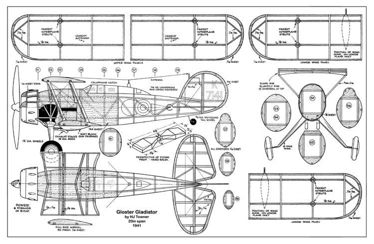 Gloster Gladiator 20in model airplane plan