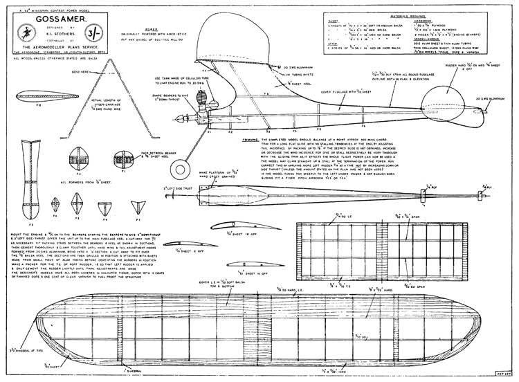 Gossamer model airplane plan