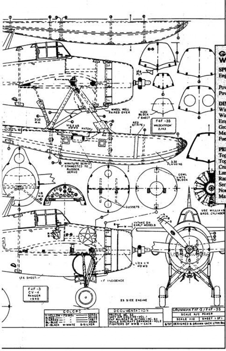Grumman F4F-3 Ranger 2 model airplane plan