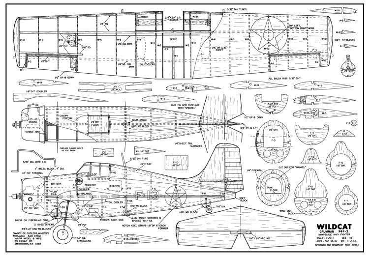 Grumman F4F-3 Wildcat model airplane plan