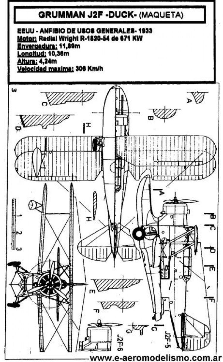 Grumman J2F model airplane plan