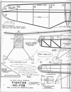 Guillow Fighter F 58 model airplane plan