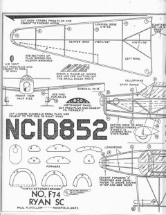 Guillow Ryan SCF74 model airplane plan
