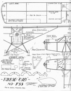 Guillow Taylor Cub F-53 model airplane plan