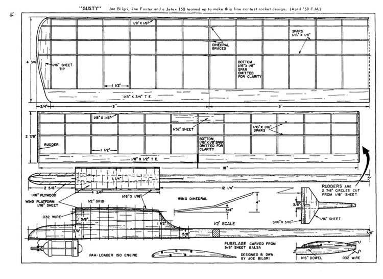 Gusty model airplane plan