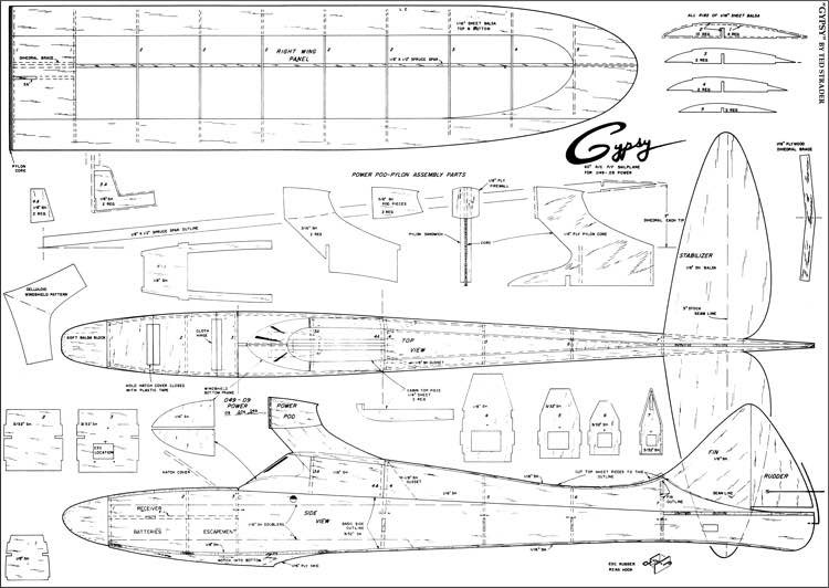 Gypsy 60in model airplane plan