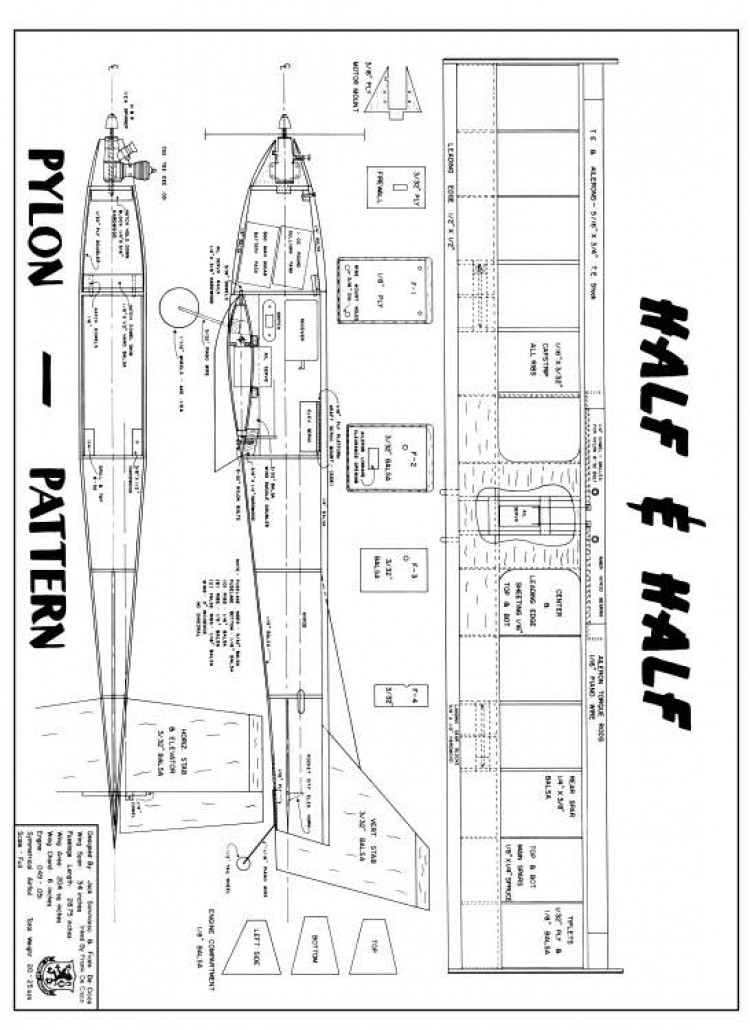 Half n Half 34in model airplane plan