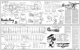 Hawker Fury 20in model airplane plan