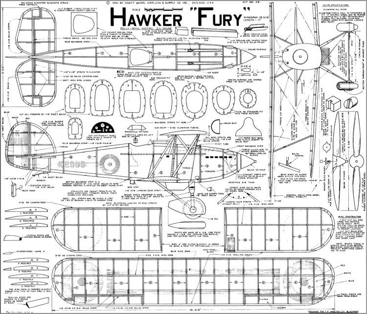 Hawker Fury model airplane plan
