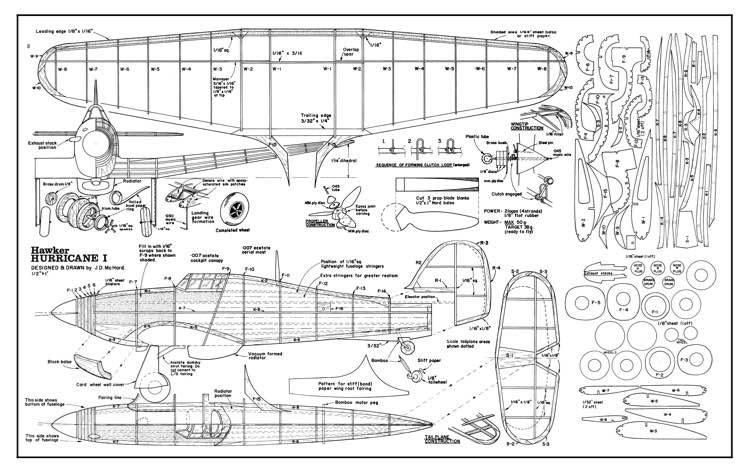 Hawker Hurricane model airplane plan