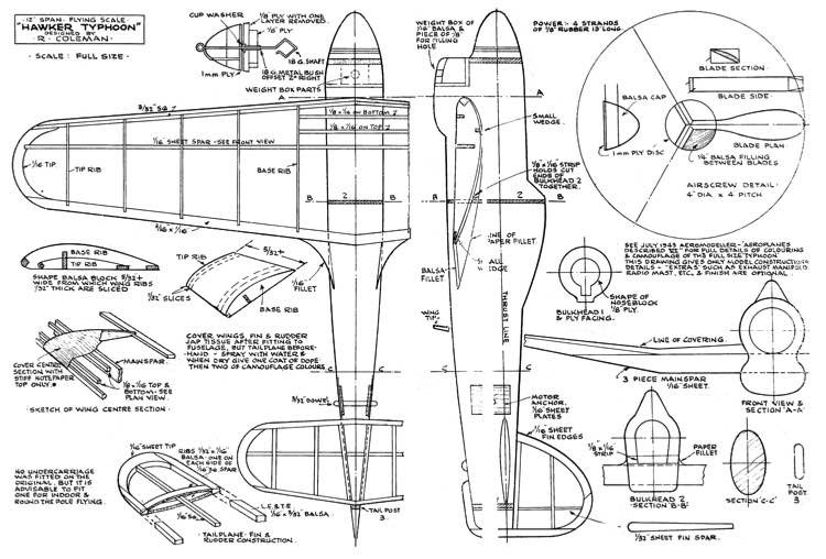Hawker Typhoon model airplane plan