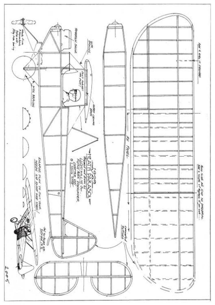 Heath Parasol model airplane plan