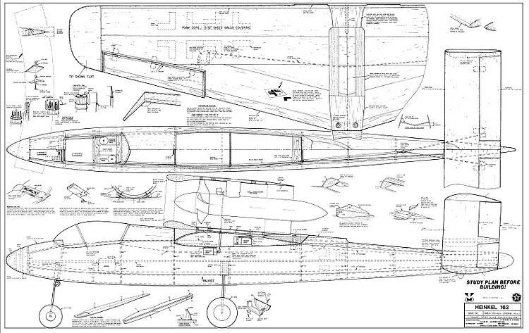 Heinkel 162 model airplane plan