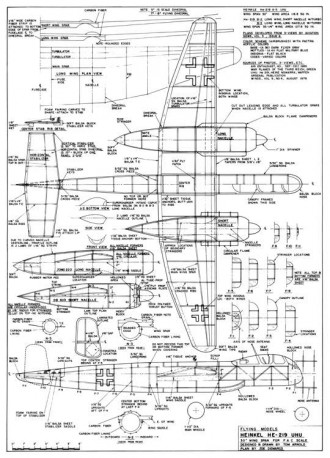 Heinkel He-219 UHU 30in model airplane plan