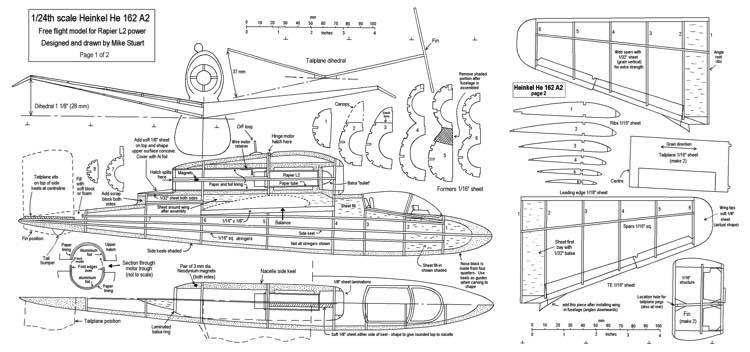 Heinkel He 162 model airplane plan