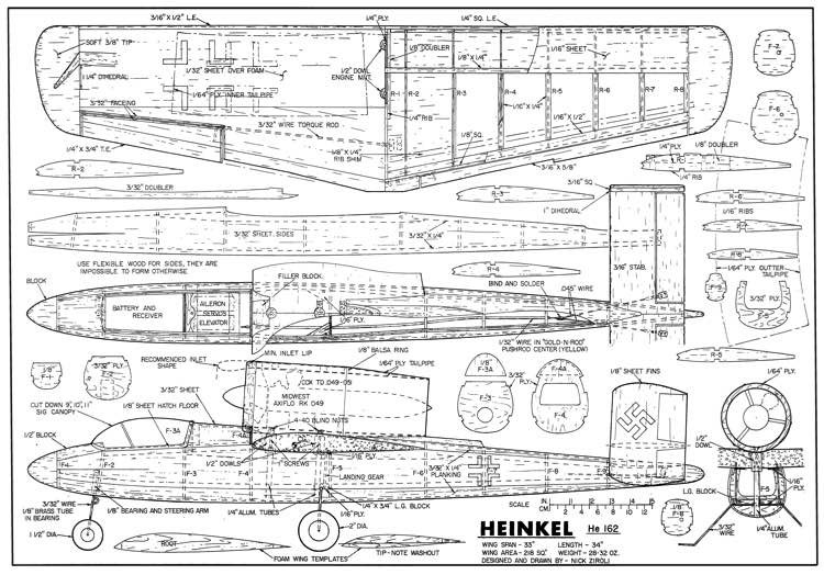 Heinkel He 162 33in model airplane plan