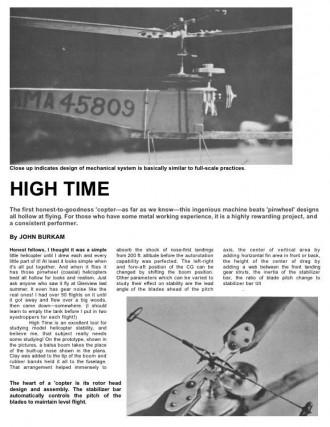 High Time model airplane plan