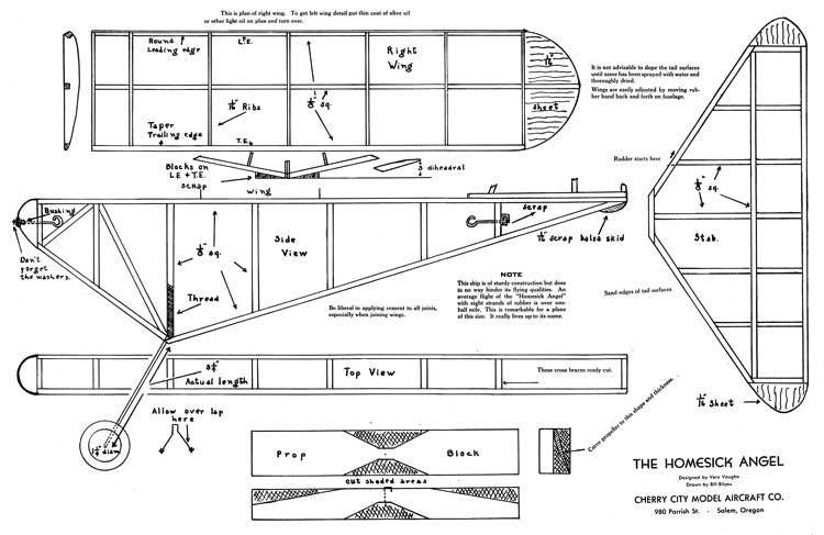Homesick Angel model airplane plan