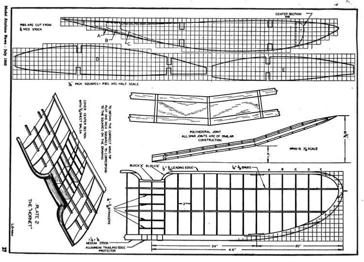 Hornet p2 model airplane plan