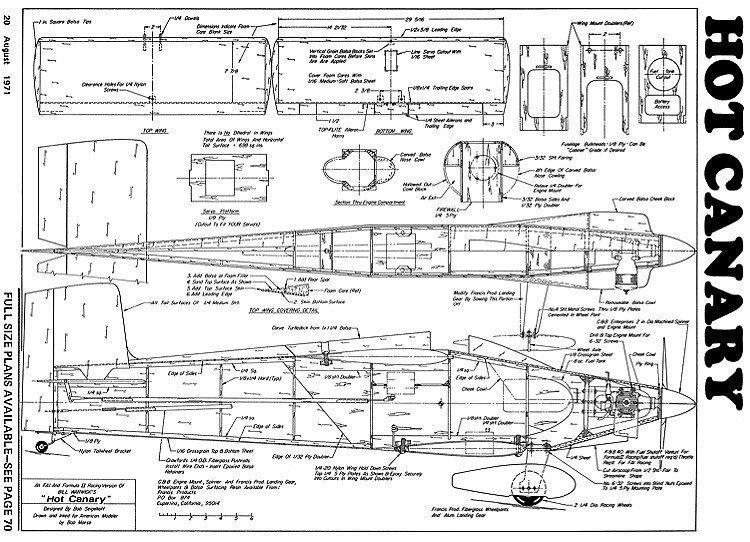 Hot Canary-AAM-08-71 model airplane plan