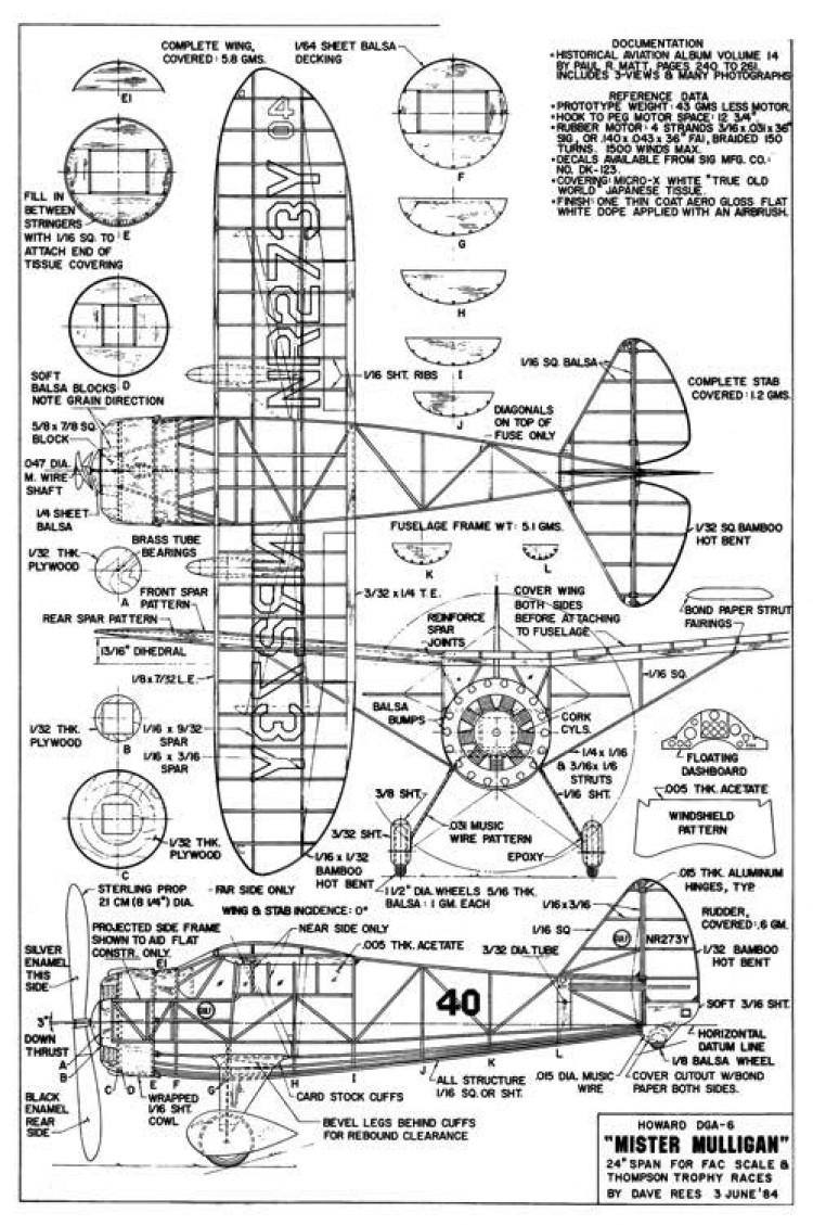 Howard DGA-6 model airplane plan