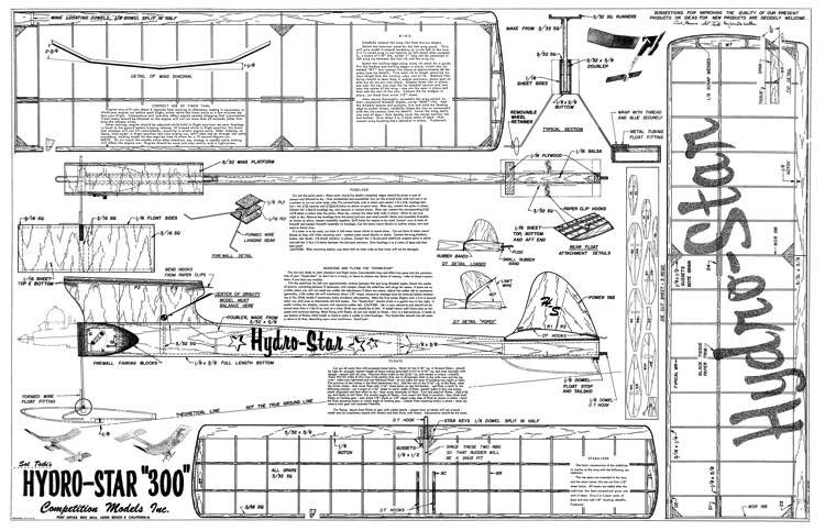 Hydro Star 300 model airplane plan