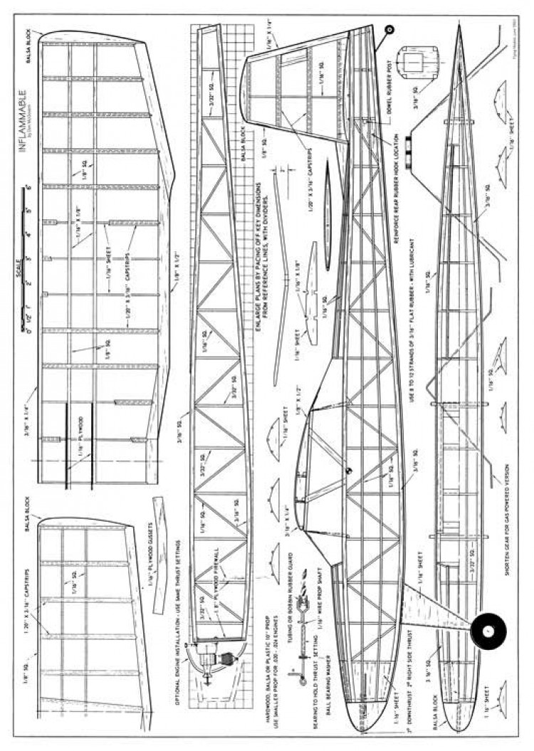 Inflammable model airplane plan