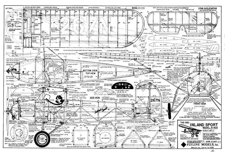 Inland Sport R-400 model airplane plan