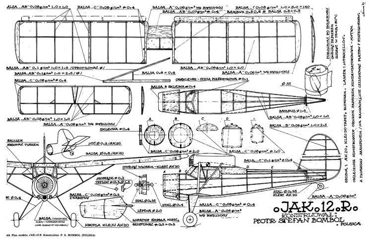 Jak 12 R model airplane plan