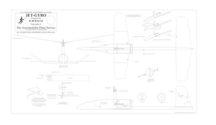 Jet-Gyro BW Print model airplane plan
