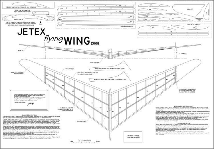 Jetex Flying Wing 2008 model airplane plan
