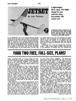 Jetset 28in model airplane plan